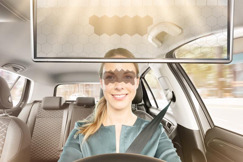 Fotografía del Virtual Visor de Bosch para los reflejos del sol